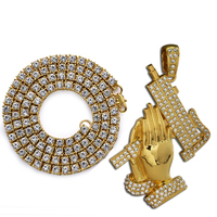 Golden Iced Out Praying Hands Of Defense Large Pendant 24 5mm Tennis Chain Necklace Hip Hop