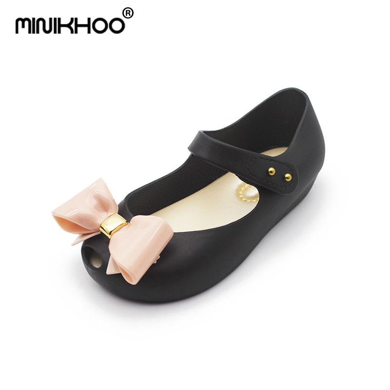 Mini Melissa 3Color Bow Girl Jelly Sandals 2018 Summer Non-slip Toddler Sandals Melissa Jelly Shoes 15cm-18cm High Quality