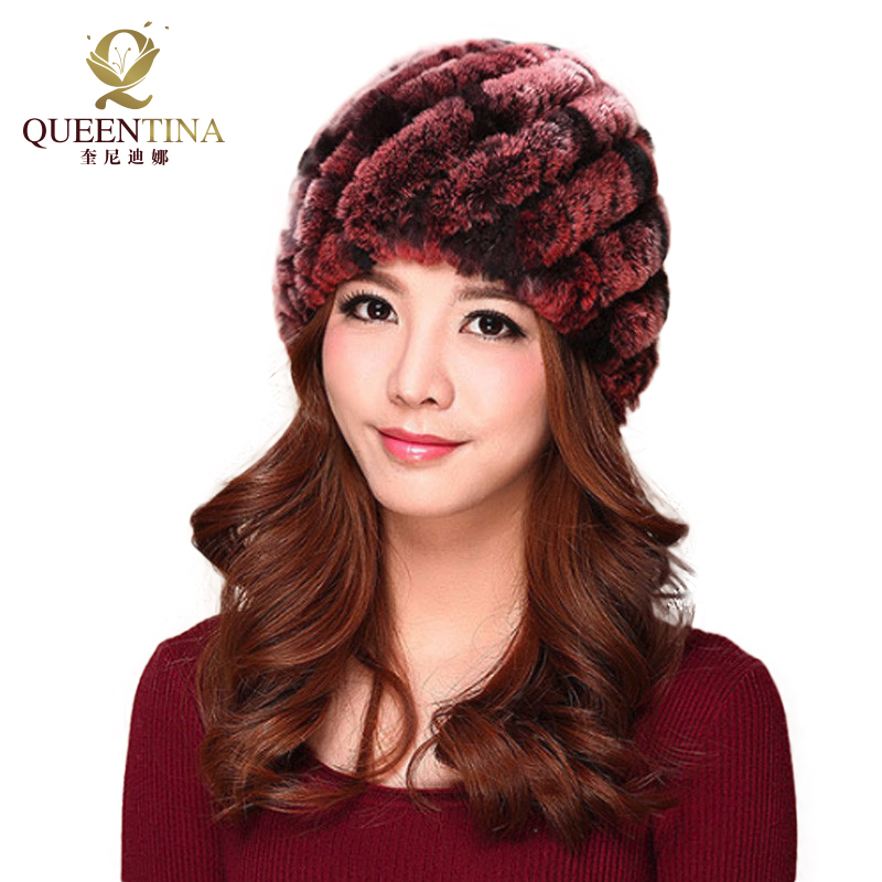 Luxury Autumn Winter Women Genuine Real Knitted Rex Rabbit Fur Hats Handmade Lady Warm Caps Female