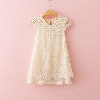 DreamShining Cute Lace Girls Dress Solid Summer Kids Dresses For Girls Embroidered Children Clothes Party Wedding