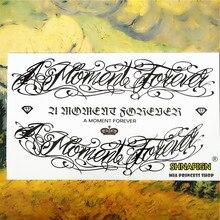 SHNAPIGN Black Letter Tattoo Temporary Tattoo Body Art, 12x20cm Flash Tattoo Stickers,Waterproof Fake Henna Tatto Wall Sticker