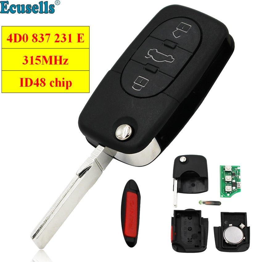 3+1 Buttons 315Mhz With ID48 Chip Flip Remote Key 4D0 837 231 E For Audi A4 A6 A8 TT 4 Button 4D0837231E Uncut HU66 Blade