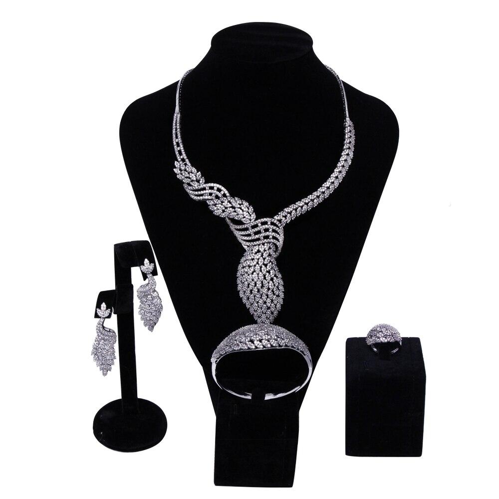 New Luxury Women Bridal Jewelry Sets setting Cubic zircon 4pcs sets ( necklace + bracelet + earrings + ring) free shipping