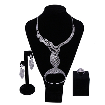 New Luxury Women Bridal Jewelry Sets setting Cubic zircon 4pcs sets ( necklace + bracelet + earrings + ring) free shipping