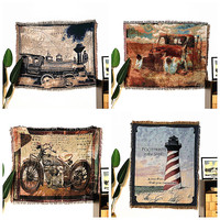 Shabby chic Vintage blanket double sided cotton knitting wall tapestry sofa towel bed cover felts carpet farmhouse decor