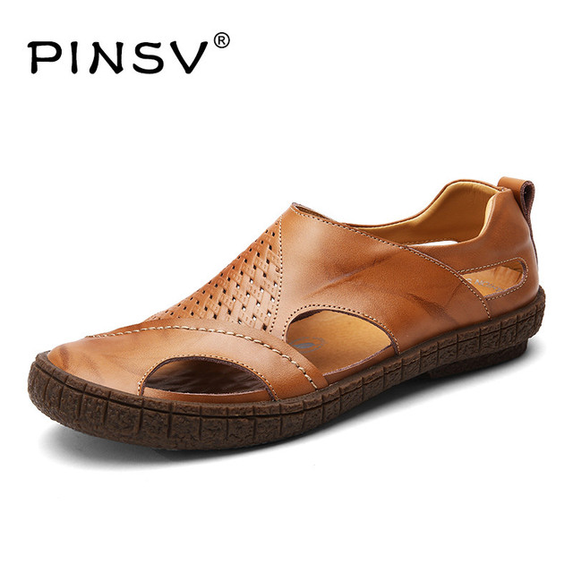 Pinsv Hommes Sandales Croute De Cuir Sandales Hommes Chaussures D