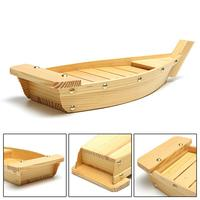 42x17x7.5cm Japanese Cuisine Sushi Boats Sushi Tools Wood Handmade Simple Ship Sashimi Assorted Cold Dishes Tableware Bar