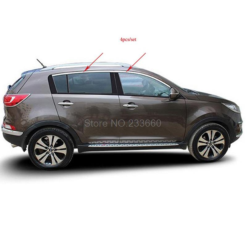 Fit For Kia Sportage R 2011 2012 2013 2014 Car Styling Window Trims Cover Glass Sills Strip Stainless Steel 4pcs