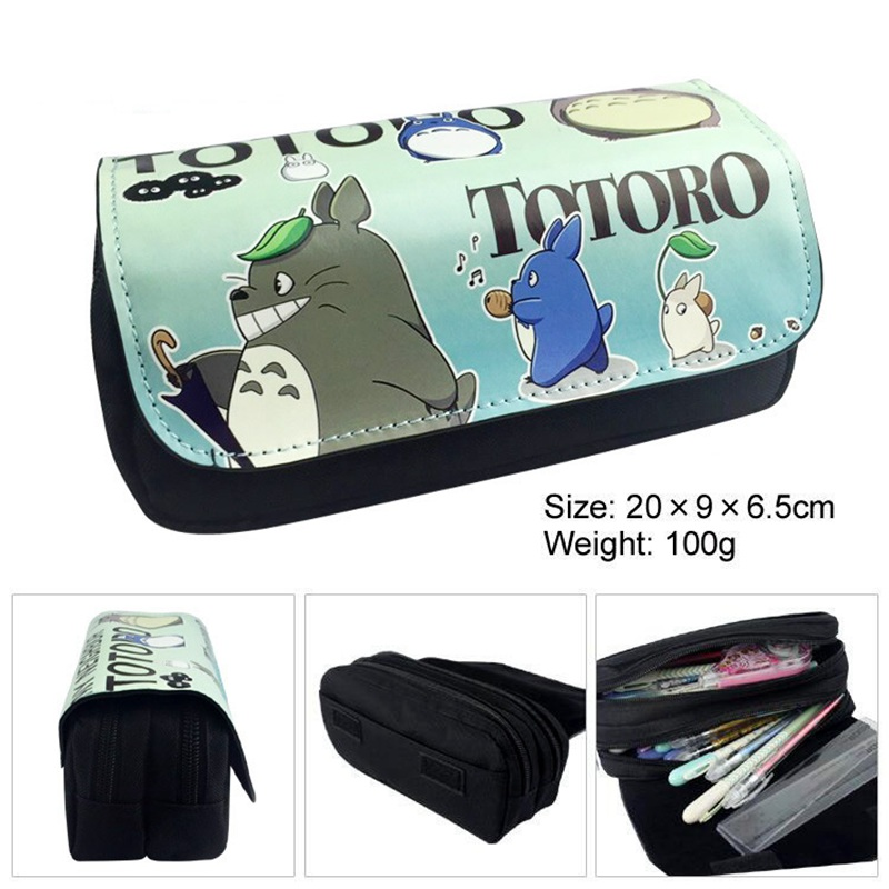 Kawaii Cartoon Totoro Pencil Case Cute Pencil Bag Pouches Double Layer Children Girl Student School Supplie Stationery Kids Gift teenage mutant ninja turtles tmnt boys cartoon pencil case bag school pouches children student pen bag kids purse wallet