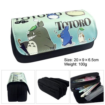Kawaii Cartoon Totoro Pencil Case Cute Pencil Bag Pouches Double Layer Children Girl Student School Supplie Stationery Kids Gift