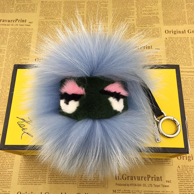 Luxury Cute Little Monster Face Keychain Fashion Fluffy Fox Fur Pom Pom Keyring Car and For Women Shoulder Bag Pendant Accesory ...