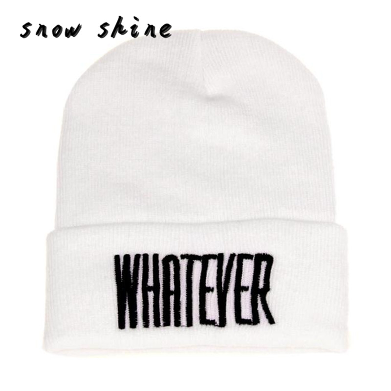 snowshine #5003  Winter Black Whatever Beanie Hat And Snapback Men And Women Cap FREE SHIPPING shocking show 2016 new design winter black whatever beanie hat and snapback men and women cap