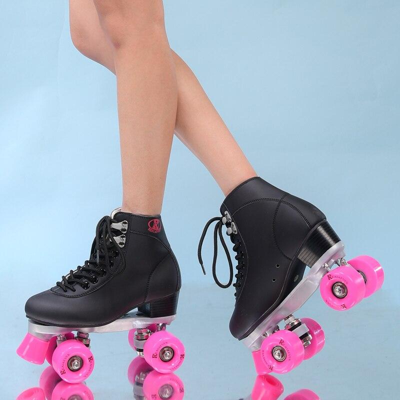 RENIAEVER double patins, 4 chaussure de patinage, roues rose noir chaussures, livraison gratuite - 3