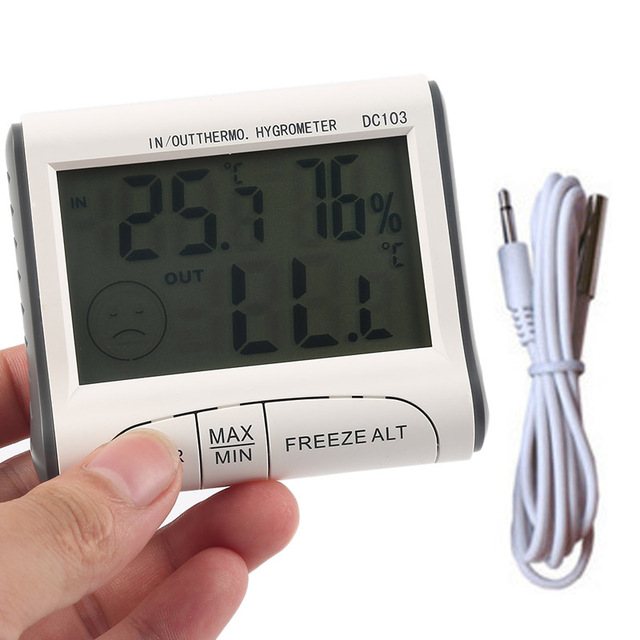 Household Digital Weather Station Thermometer LCD Digital In/Out Thermo.  Temperature Humidity Meter Hygrometer