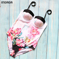 INGAGA New 2018 One Piece Swimsuit Female Floral Printed Push Up Swimwear Women Halter Beachwear Summer