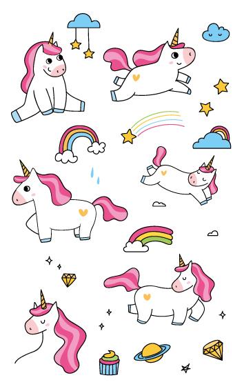 Cartoon Unicorn Temporary Tattoos Sheet