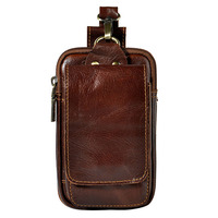 Men Cowhide Genuine Leather Fanny Waist Bag Belt Holder Pocket Cigarette Case Coin Purse Military Male Pack Pouch
