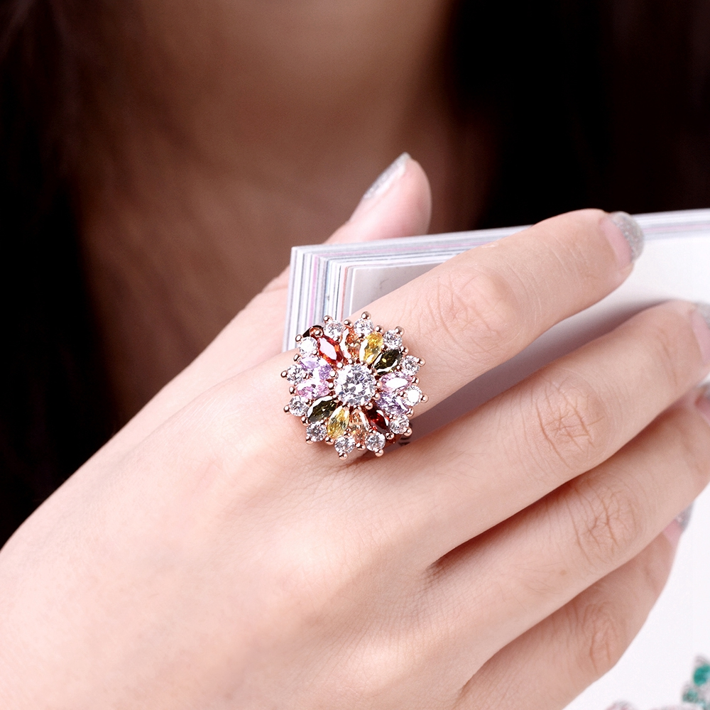 Luxury rose gold color AAA zircon flower pendant necklace & ring ...