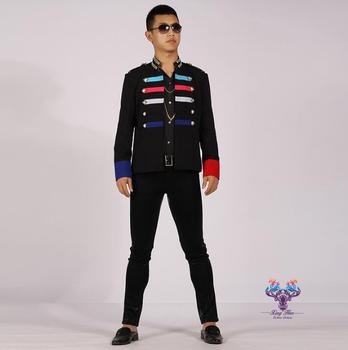men suits designs multi-color stitching costumes for singers men sequin blazer dance clothes jacket star style dress punk black