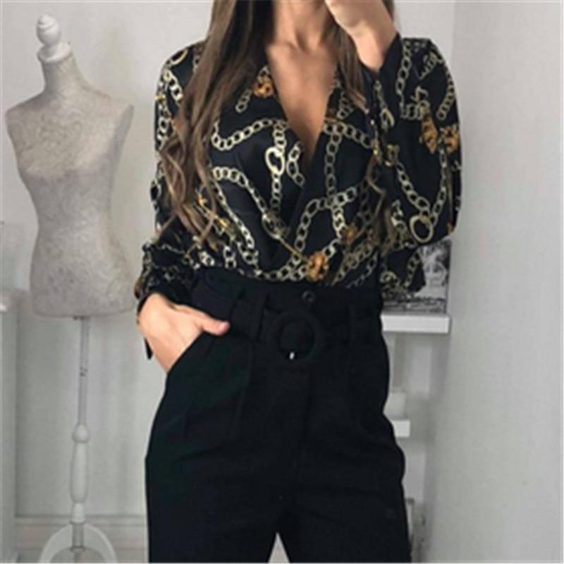 Fashion Women Casual Deep V-Neck Chain Pattern Tops Jumpsuits Long Sleeve Bodysuit Leotard Blouse