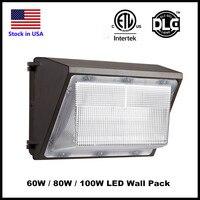 Extérieure LED Mur Pack Lumière 60 W 80 W 100 W Industrielle Mur Pack Luminaire Lumière Bleue 5000 K AC90-277V CRI75 IP65 DLC ETL énumérés