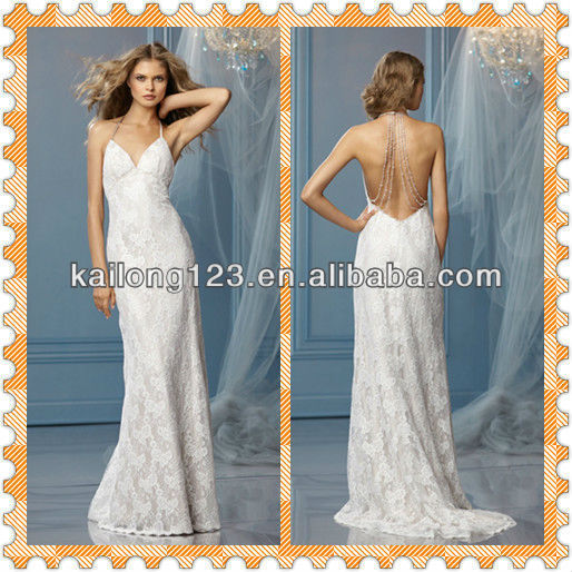 1e2439c765b Sexy Spaghetti Straps Jeweled Beads Open Back Sheath Sweep Train Lace Wedding  Dress