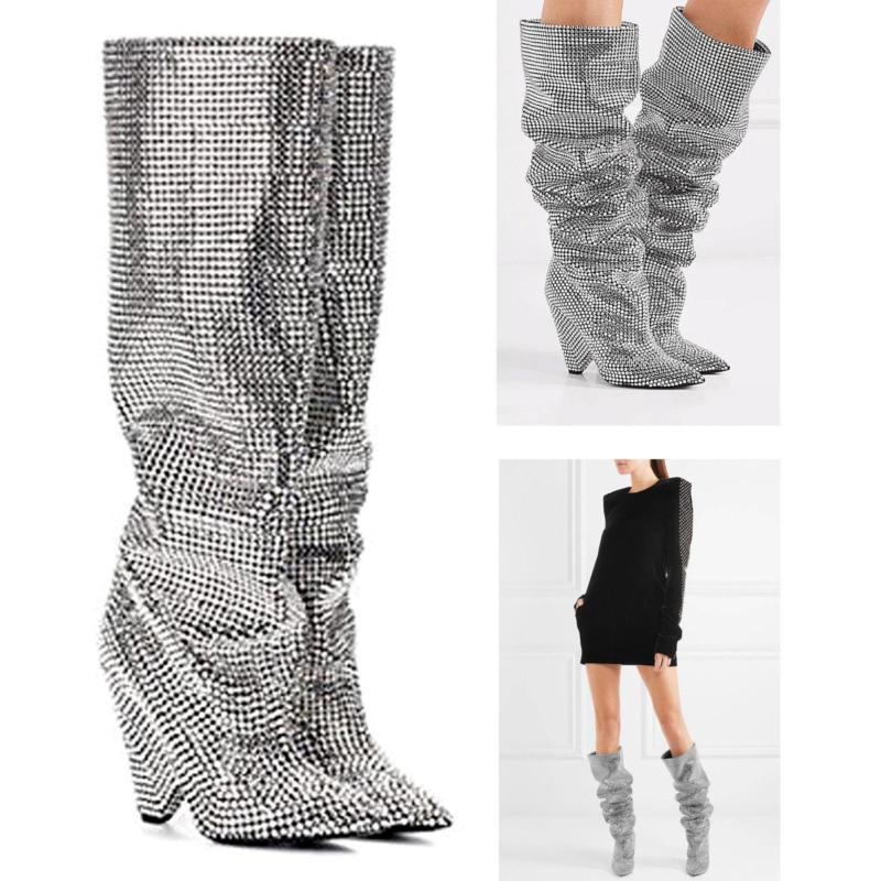 US4-11 100% Cow leather Embellished Rhinestone Womens Crystal Covered Knee High boots Shoes 6Colors