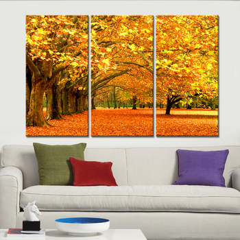 3 Pieces Canvas Painting Fall Leaves Cuadros Decoration Wall Art  for Living Room Posters and Prints Modern Nordic No Framed
