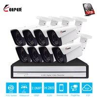 Хранитель H.265 8CH 1080 P безопасности Камера POE Системы 8 шт. открытый 2MP IP Камера с POE NVR Водонепроницаемый безопасности Системы Камера комплект