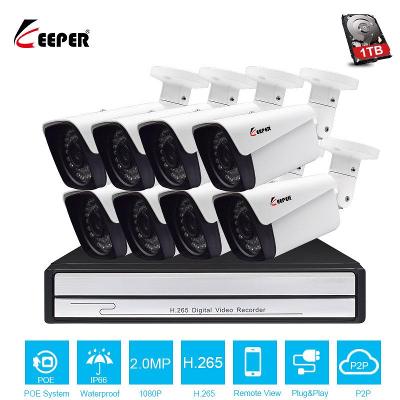 Gardien H.265 8CH 1080 p Caméra de Sécurité POE Système 8 pcs En Plein Air 2MP caméra IP avec POE NVR de Sécurité Imperméable À L'eau système caméra kit