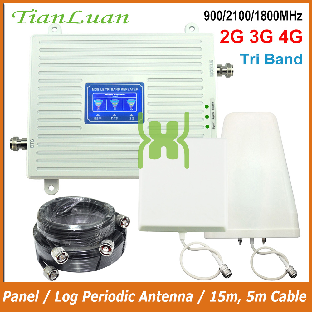 TianLuan Band 1/3/8 2G 3G 4G Mobile Phone Signal Booster GSM 900MHz DCS LTE 1800MHz W-CDMA 2100MHz Cellular Repeater Amplifier