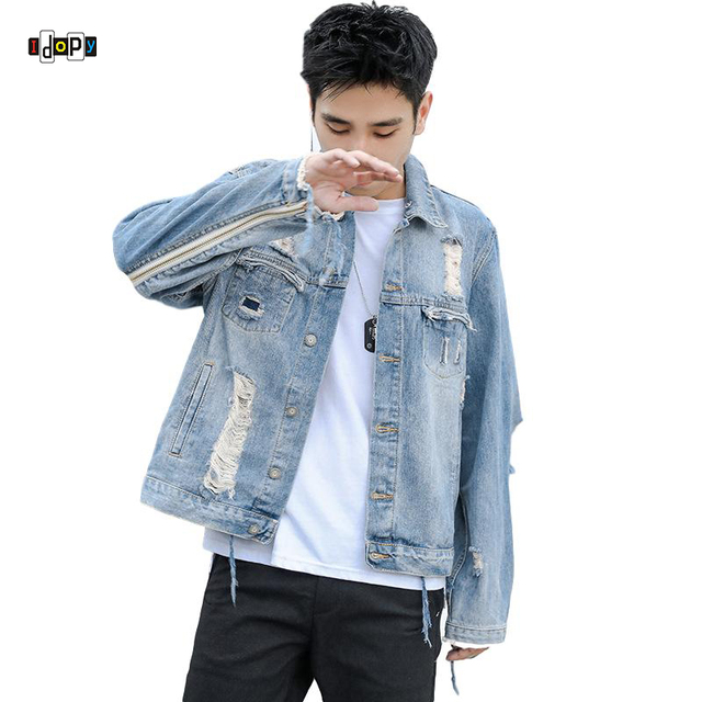 Idopy Men S Denim Jacket Jeans Street Style Ripped Distressed Holes