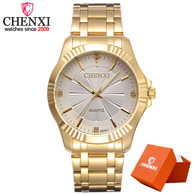 CHENXI Gold Watch Men Luxury Business Man Watch Golden Waterproof Fashion Casual Quartz Male Dress Clock Gift Wristwatch