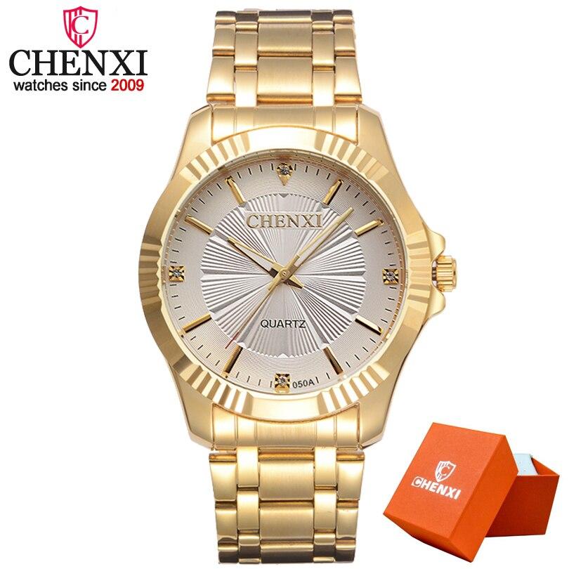 CHENXI Montre En Or Hommes De Luxe Homme D'affaires Montre D'or Mode Étanche Casual Quartz Mâle Robe Horloge Cadeau Montre-Bracelet
