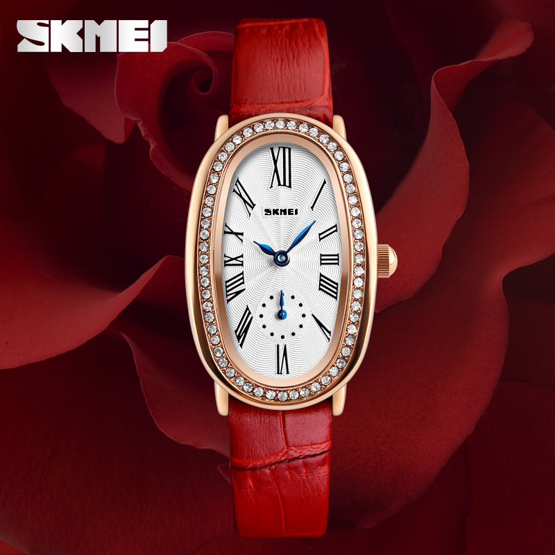 SKMEI Watches Women Fashion Ladies Watch Brand Luxury Crystal Sparkling Glasses Leather Strap Quartz Clock relojes mujer 2017 cartoon gold horse print blue leather strap sports ladies quartz watch relojes hombre 2017 bayan saat women watches hodinky b133