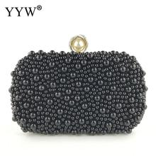 Black Plastic Pearl Clutch Bag For Women 2019 Banquet Wedding Handbag And Purse Luxury Evening Party Crystal Phone Bag Clutches pink luxury evening clutch bag diamond crystal clutches party purse for prom ladies round wedding bridal bling banquet bag