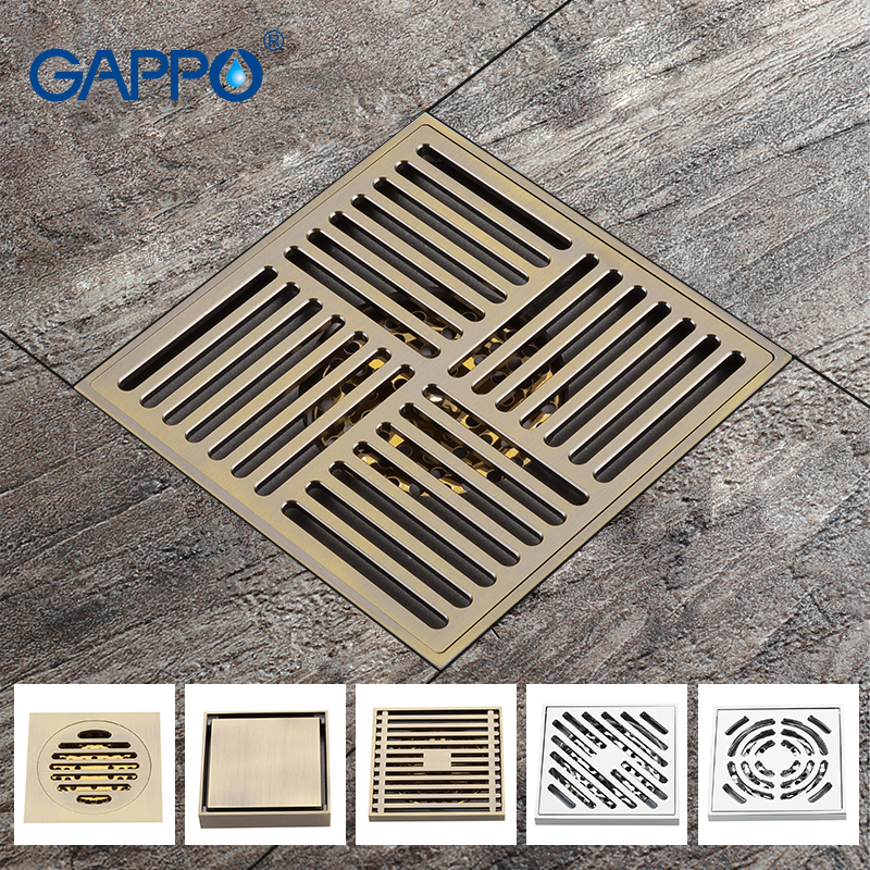 GAPPO Drains square bathroom drainers stopper shower drain covers rainfall shower set floor drain Bathroom shower floor drain