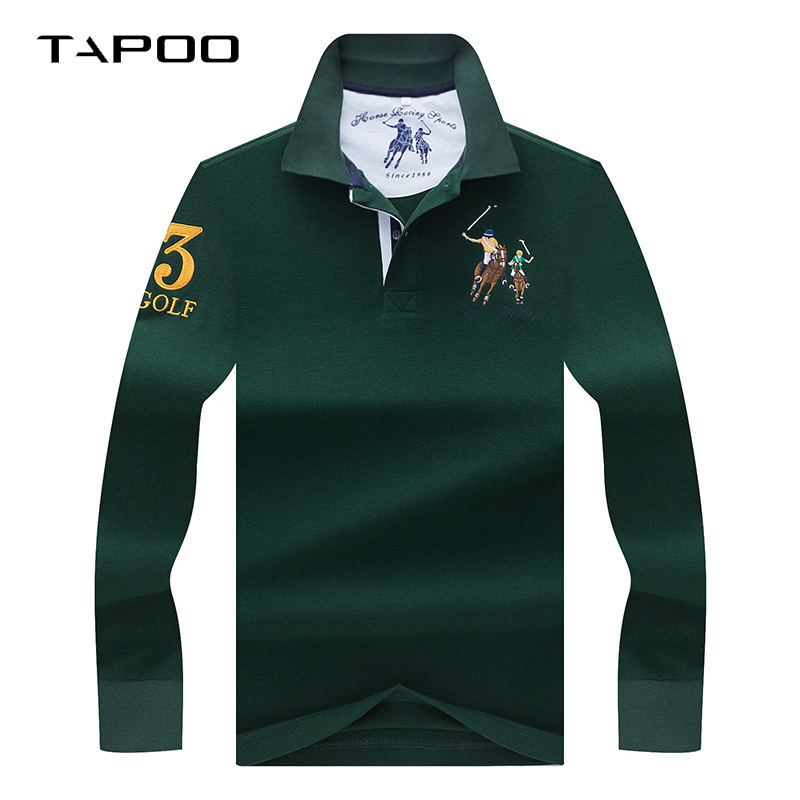 2018 Winter High Quality men's Long sleeve   polo   shirt Men   Polos   Solid color 3D Embroidery   Polo   shirt male Casual   Polo   Shirts
