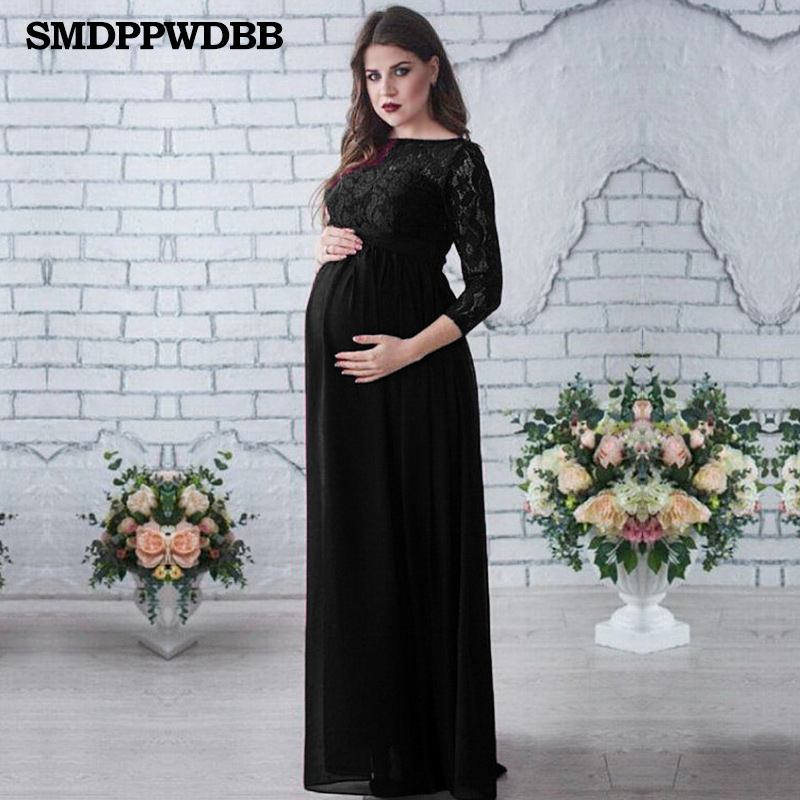 SMDPPWDBB Winter Maternity Lace Dresses Plus Size Pregnancy Dress Gown Chiffon Maternity Photography Props Women Long Sleeve