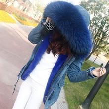 2017 новый большой енот натуральный мех пальто джинсовой зимняя куртка женщин зимнее пальто женщин parka теплый Толстый подкладка украина