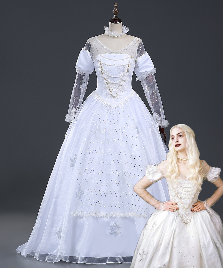 Alice in Wonderland The White Queen Cosplay Costume Dress Halloween princess Queen White Fancy dress any size halloween queen cosplay dress