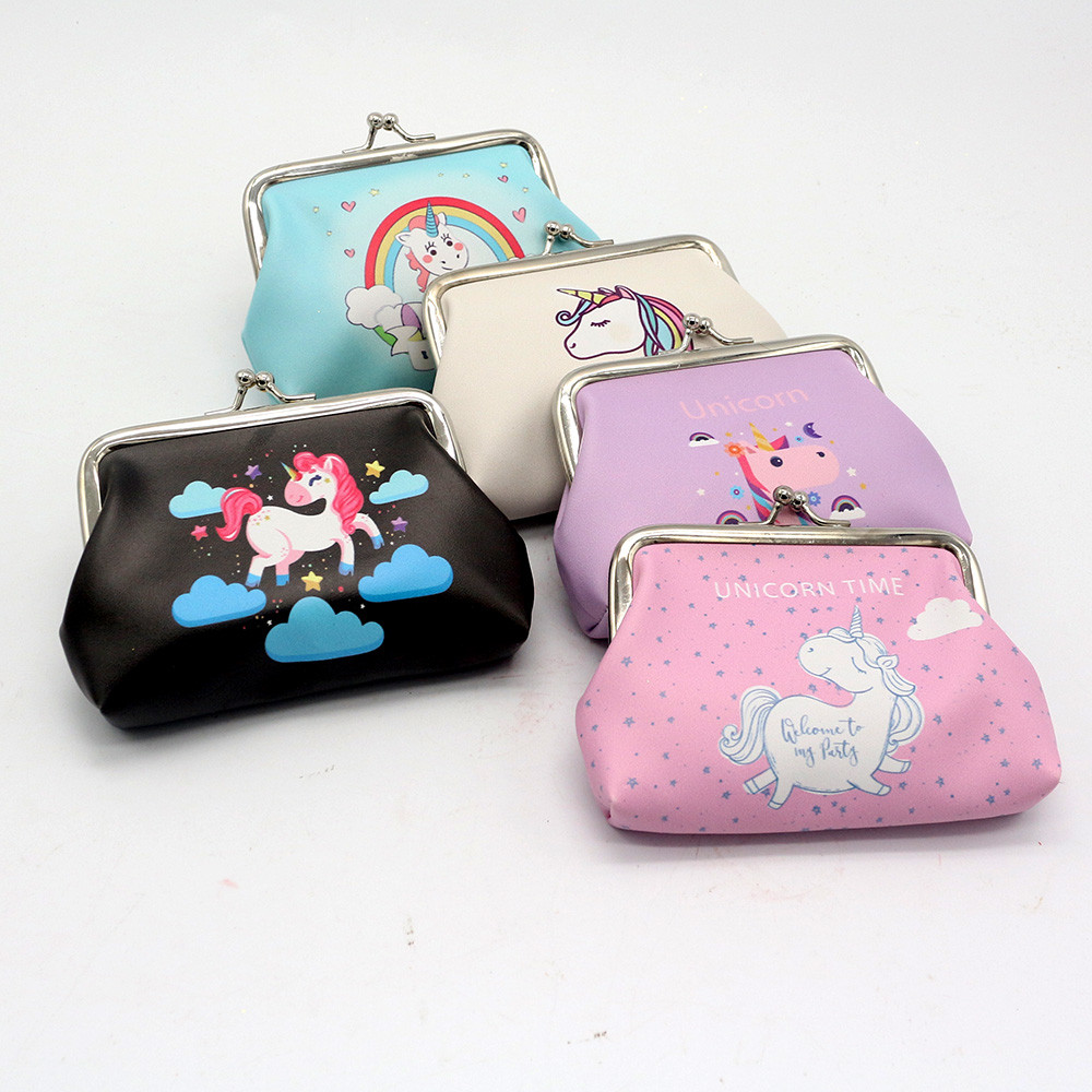 2017 Fashion Unicorn Cartoon Simple Hasp magical Wallet Mini Snacks Coin Purse Change Purse Money Bag Small Pocket Brand