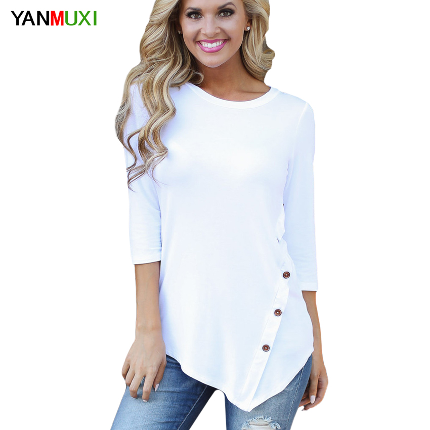 Autumn Winter Women's T-shirts Casual Three Quarter Button Tee Shirts White O-neck Female Shirts Sexy Ladies Plus Size To'p