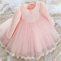 New Tutu Lace Bow Tulle Bridesmaid Baby Girl Wedding Dress Fluffy Ball Gown Birthday Evening Prom