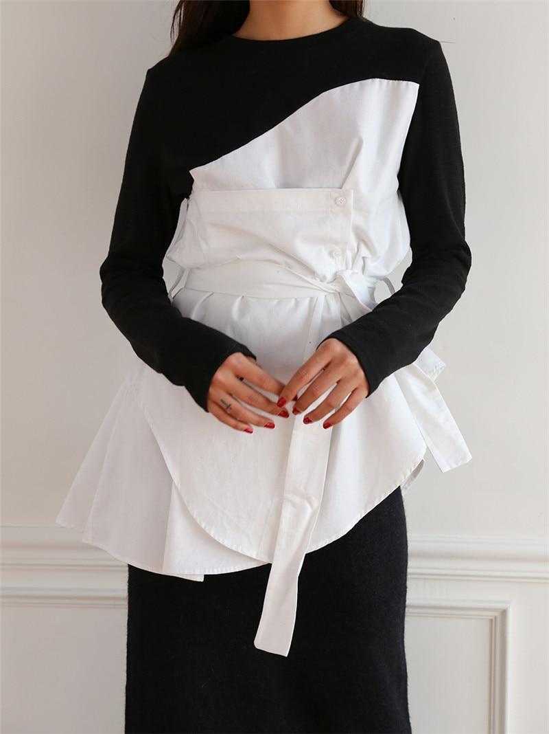 SuperAen 2018 Herbst Neue Mode Frauen T Shirts Casual Baumwolle Unregelmäßigen Gefälschte Zwei-stück Damen T-shirt Lange Hülse Frauen tops