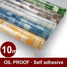Waterproof Vinyl Mosaic Tile Wall Paper for Bathroom Wall Decor PVC Self adhesive Wallpaper for Kitchen Backsplash Contact Paper