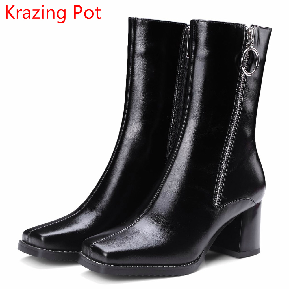 2018 Fashion Cow Leather Large Size Gladitor Keep Warm Square Toe Buckle Winter Boots Zipper High Heels Women Mid-calf Boots L03 double buckle cross straps mid calf boots