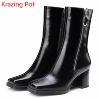 2018 Fashion Cow Leather Large Size Gladitor Keep Warm Square Toe Buckle Winter Boots Zipper High