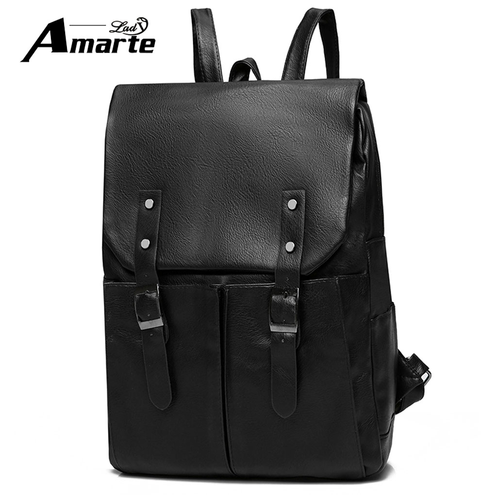 Amarte High Quality Practical PU Leather Mens Backpack Famous Brand Casual Men Laptop Backpack Black School Travel Backpack 2018 famous brand school backpack the avengers captain america iron man fashionable laptop backpacks high quality leather