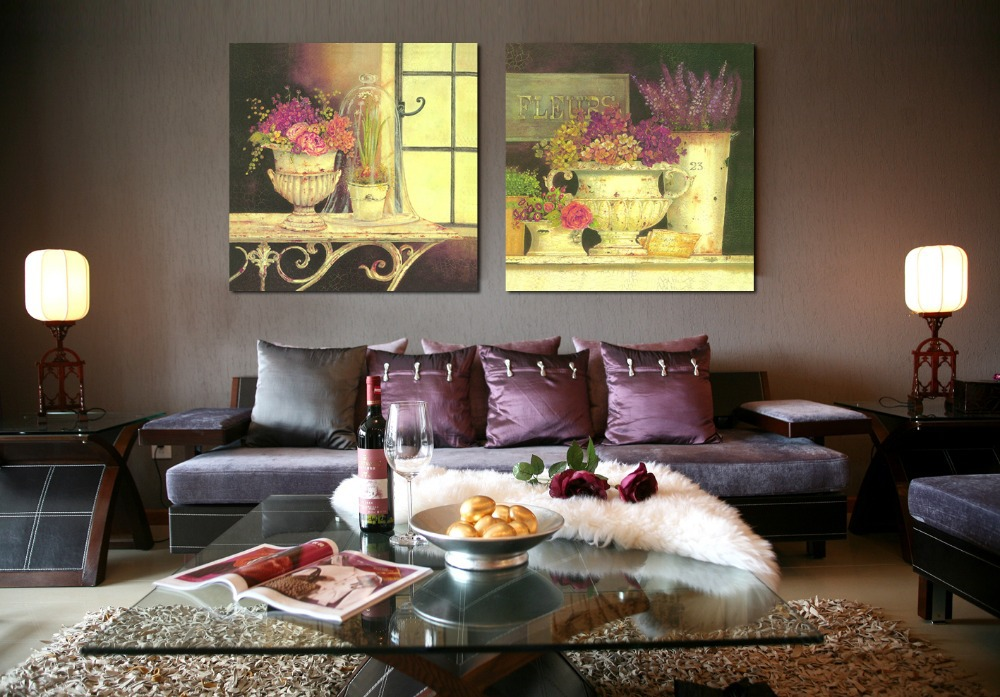 2 piece canvas wall art Modern office wall painting Couch